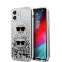 Apple iPhone 12 Mini Karl Lagerfeld Liquid Glitter Hátlapvédő Tok Ezüst / Átlátszó (KLHCP12SKCGLSL)