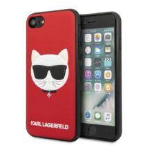 Apple iPhone 7 / 8 / SE 2020 Karl Lagerfeld Hátlapvédő Tok Piros / Fekete (KLHCI8GLRE)