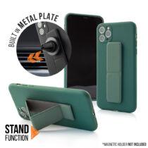 Apple iPhone 11 Pro Max Magnetic Stand Sötétzöld Színű Matt Szilikon Tok