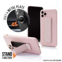 Apple iPhone 12 Pro Magnetic Stand Rózsaszín Színű Matt Szilikon Tok