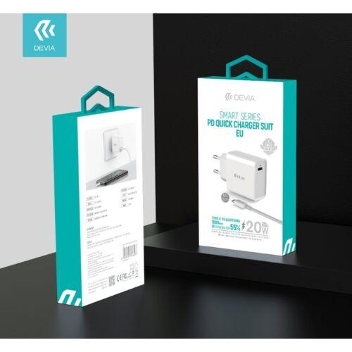 Devia Smart Series PD Quick Charger Suit USB-C hálózati töltő adapter + Type C - Lightning adat- és töltőkábel 20W 3A 1m - fehér