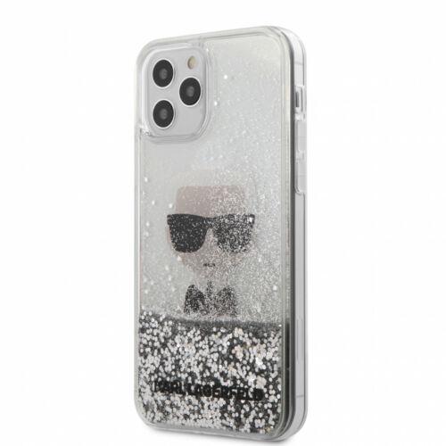 Apple iPhone 12 / 12 Pro Karl Lagerfeld Liquid Glitter Hátlapvédő Tok Ezüst / Átlátszó (KLHCP12MGLIKSL)