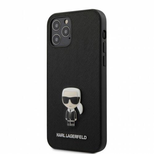 Apple iPhone 12 / 12 Pro Karl Lagerfeld Hátlapvédő Tok Fekete (KLHCP12MIKMSBK)