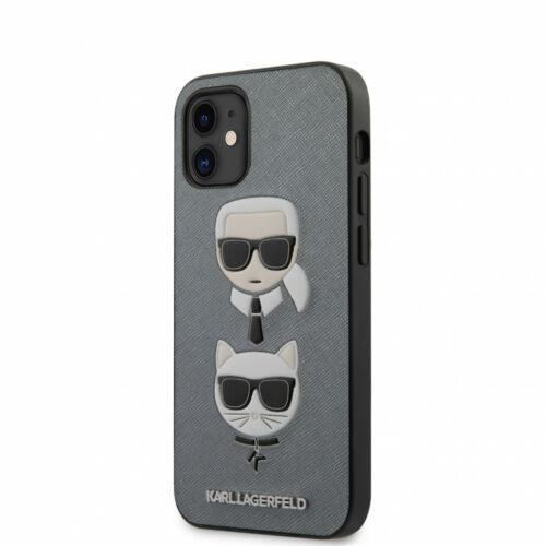 Apple iPhone 12 Mini Karl Lagerfeld Hátlapvédő Tok Szürke / Fekete (KLHCP12SSAKICKCSL)