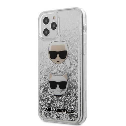 Apple iPhone 12 / 12 Pro Karl Lagerfeld Liquid Glitter Hátlapvédő Tok Ezüst / Átlátszó (KLHCP12MKCGLSL)