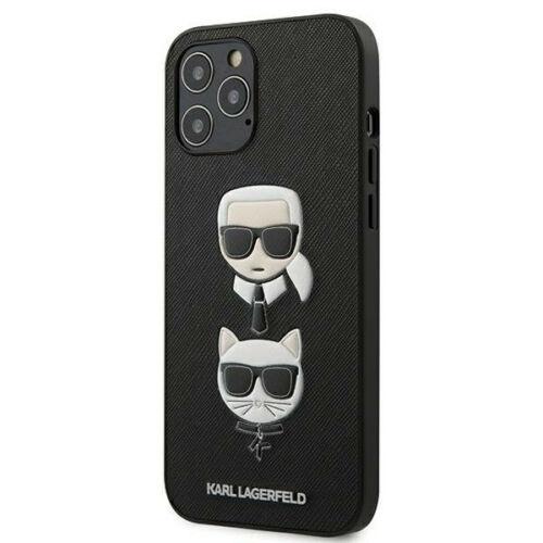 Apple iPhone 12 / 12 Pro Karl Lagerfeld Hátlapvédő Tok Fekete (KLHCP12MSAKICKCBK)