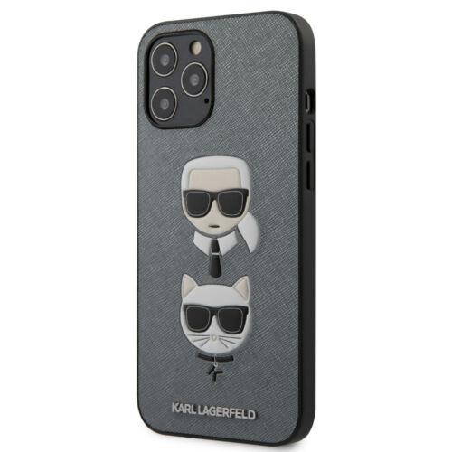 Apple iPhone 12 / 12 Pro Karl Lagerfeld Hátlapvédő Tok Szürke / Fekete (KLHCP12MSAKICKCSL)