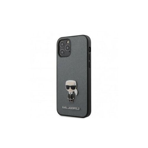 Apple iPhone 12 / 12 Pro Karl Lagerfeld Hátlapvédő Tok Szürke / Fekete (KLHCP12MIKMSSL)