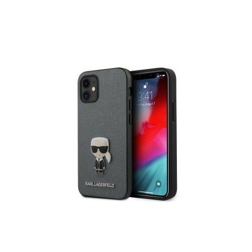 Apple iPhone 12 Mini Karl Lagerfeld Hátlapvédő Tok Szürke / Fekete (KLHCP12SIKMSSL)