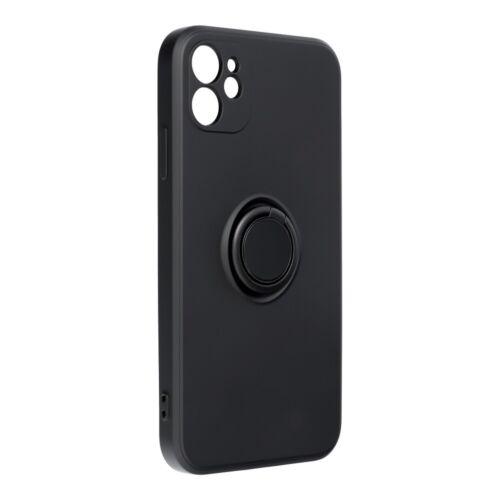 Samsung A22 4G Silicone Ring Matt Felületű Fekete Színű Szilikon Tok
