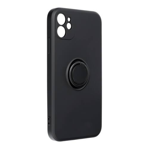 Samsung A12 Silicone Ring Matt Felületű Fekete Színű Szilikon Tok