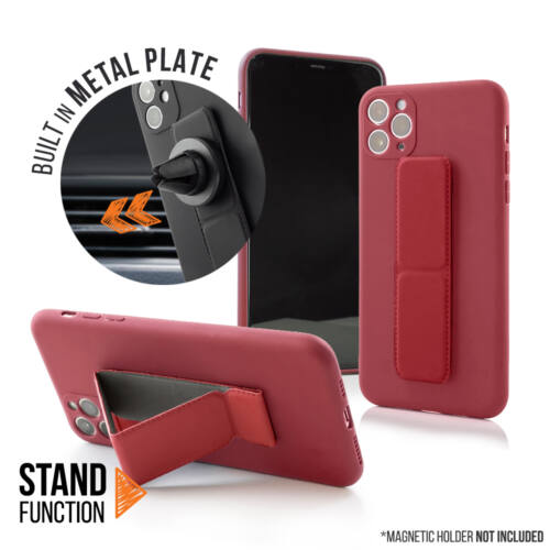 Apple iPhone 11 Pro Magnetic Stand Piros Színű Matt Szilikon Tok