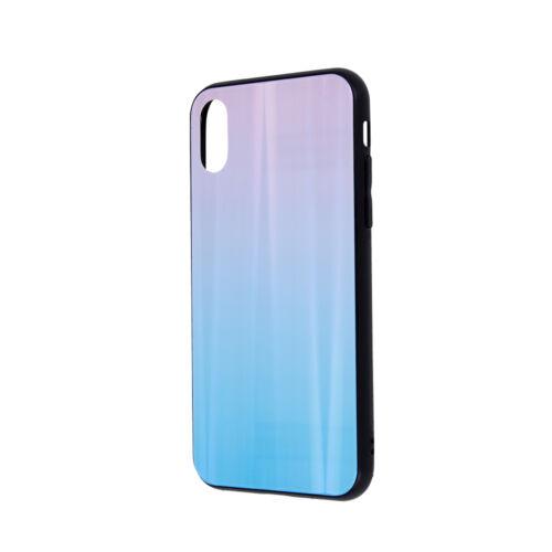Apple iPhone 7 / 8 / SE 2020 Aurora Glass Kék - Rózsaszín Színű Szilikon Tok Üveg Hátlappal