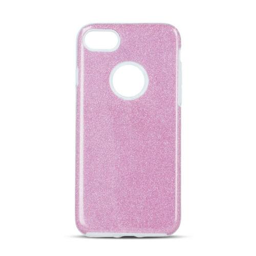Samsung A12 Shining Glitter 3in1 Rózsaszín Színű Szilikon Tok