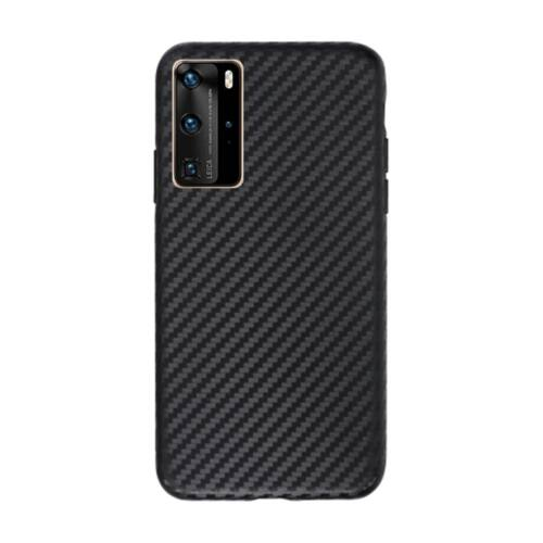 Huawei P40 Pro Slim Carbon Karbonmintás Fekete Színű Szilikon Tok