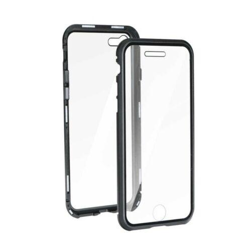 Samsung A12 Magneto 360°-os Átlátszó Tok Fekete Kerettel